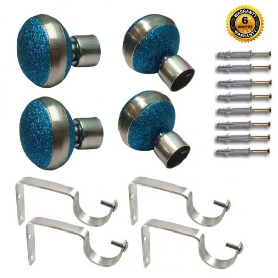 Stainless Steel And Alloy Curtain Finials With Heavy Supports Brackets Set ( Turquoise Blue )