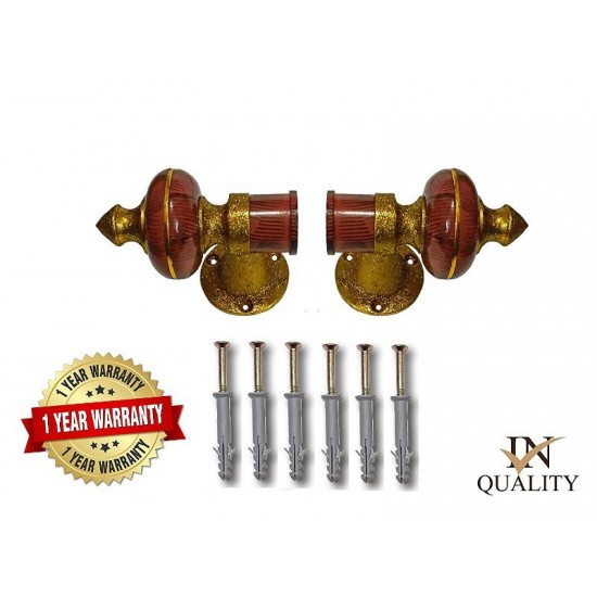 Teak Gold Curtain Brackets