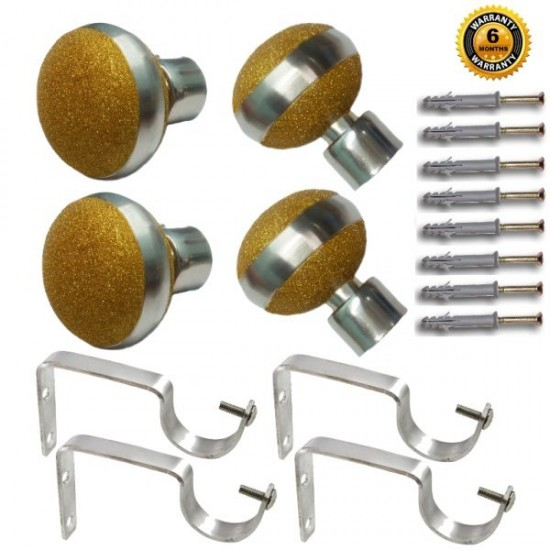Stainless Steel And Alloy Curtain Finials With Heavy Supports Brackets Set ( Gold )