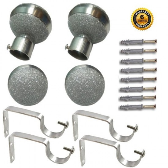 Stainless Steel And Alloy Curtain Finials With Heavy Supports Brackets Set ( Silver Dust )