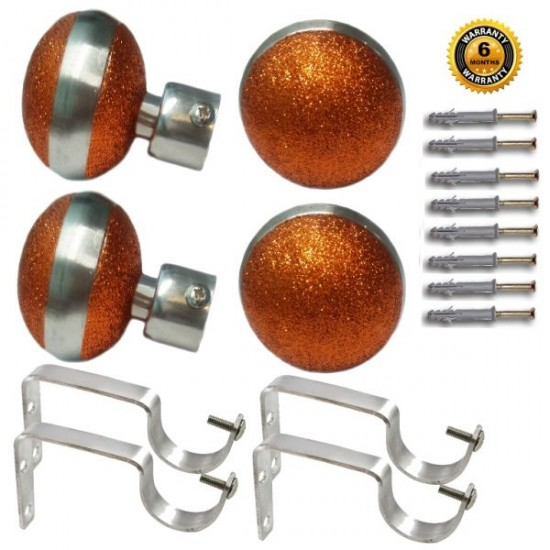 Stainless Steel And Alloy Curtain Finials With Heavy Supports Brackets Set (Copper)