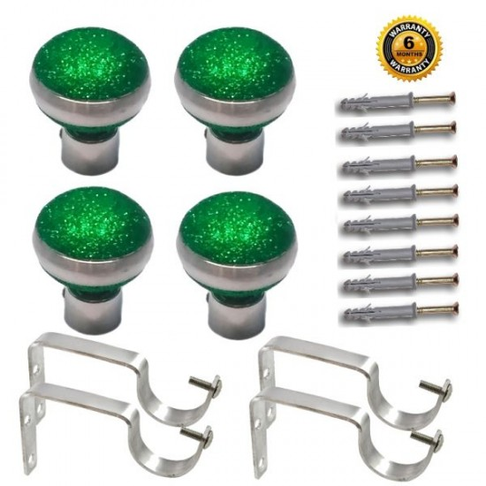 Stainless Steel And Alloy Curtain Finials With Heavy Supports Brackets Set ( Green )