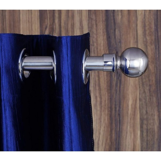 Silver Finish Stainless Steel And Alloy Curtain Finials With Heavy Supports Brackets Set
