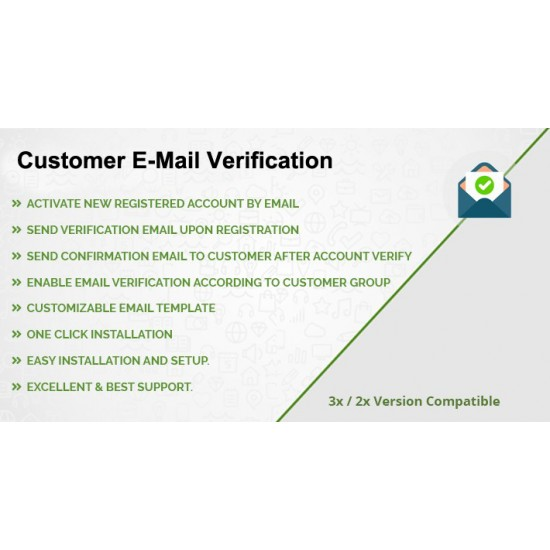 Customer E-Mail Verification for OpenCart 3x