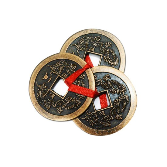 FENG SHUI THREE LUCKY COINS WITH RED RIBBON FOR MONEY, WEALTH LUCK