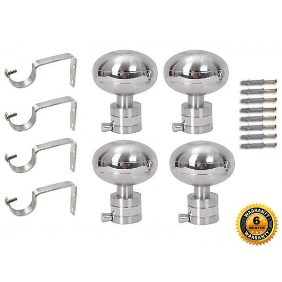 Stainless Steel And Alloy Curtain Finials With Heavy Supports Brackets Set