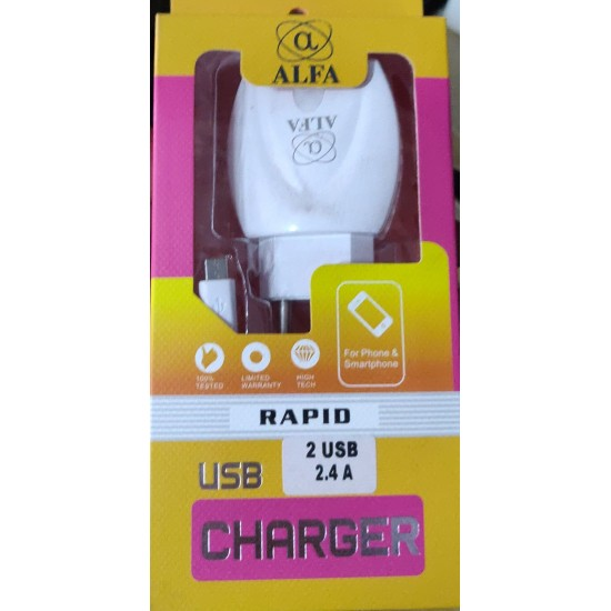 Dual Port Charger Adapter 2.4 AMP for All Andriod Smartphone (White)