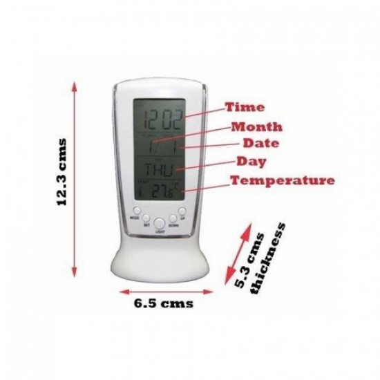 Digital DS-510 Square Clock, Calendar, Alarm Clock,Thermometer, Display with Led Light Display