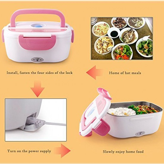 Electric 40W Heated Portable Food Warmer Lunch Box | Tiffin Box | Lunch Dabba with 2 Containers (Multicolour)