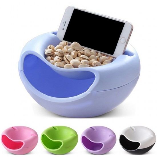 Multifunctional Creative Seeds Nut Bowl I Table Candy I Snacks I Dry Fruit Holder Storage Box Plate Dish Tray Organizer with Mobile Phone Holder Stents Stand -1Pc (Assorted Color)