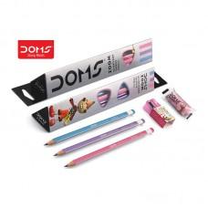 Doms Zoom Ultimate Dark Triangle Pencils -10 Pack ( 100 Pencils + 10 Eraser + 10 Sharpner Free)