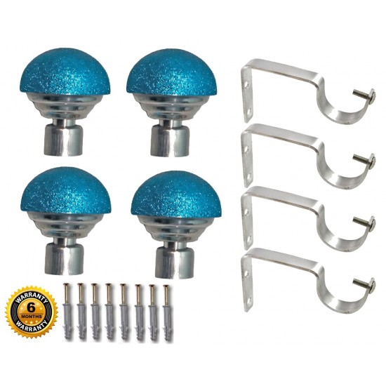 Turquoise Blue Stainless Steel And Alloy Curtain Finials With Heavy Supports Brackets Set For Doors & Windows